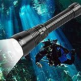 Linterna de buceo LED, luz de buceo de 5000 lúmenes, IPX8 impermeable XH P70.2 Linterna de buceo LED hasta 100 m de profundidad de potencia con batería AAA 26650/18650