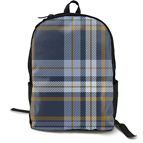 Osmykqe Plaid Check Patten Dusty Blue Faded College School Computer Rucksack Work Backpack