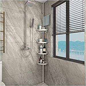 Lukzer 4 Layer Multipurpose Kitchen Bathroom Corner Shelf Shower Caddy Stainless Steel Tripod Storage Rack with Hanging Hooks (120cm-300cm)