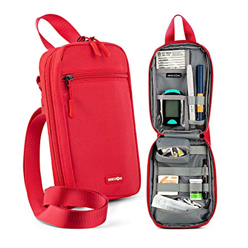 86NEURONS - Diabetes Supplies Bag and Insulin Travel case. Insulated Carrying case and Organizer Pack for All Diabetic Supplies. Holds Insulin pens, vials, Blood Sugar Test Strips, Medicine (red)