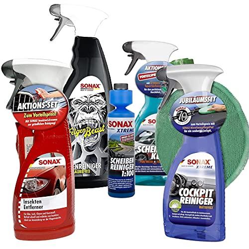 SONAX Premium Reinigungs-Set 9-teilig | Das Starterpaket für eine Komplettreinigung für innen und außen. | Zum Vorteilspreis! | Felgenreiniger, Insektenentferner, Cokpitreiniger, Scheibenreiniger