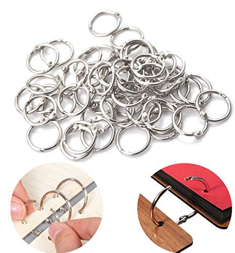 100pcs Book Binder Rings, Multipurpose 1inch Book Rings, Metal Iron Nickel Plated Loose Leaf Rings for Books Ring, Binders Ring, Index Cards and Craft Rings.