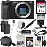 Sony Alpha A6600 Mirrorless Digital Camera Body with 64GB Card + Battery & Charger + Case + Strap + Tripod + Flash + Soft Box + Kit