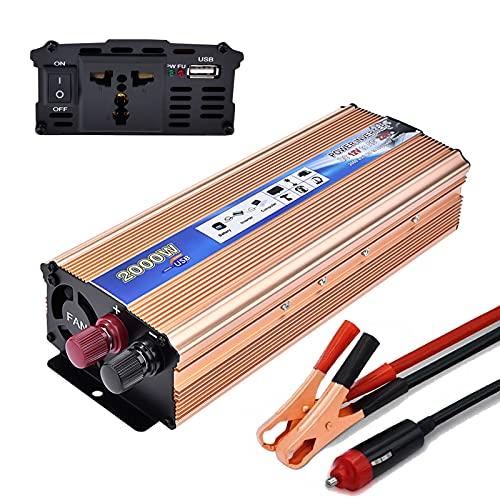 Inverter 12V 220V,LACYIE 1000W 2000W(Picco) Trasformatore Power Inverter di Potenza, Convertitore con 1 Presa AC, 1 Porte USB 2.1A, Adattatore Accendisigari e Pinze per Auto Camion Camper