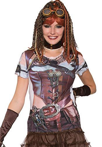 Forum Novelties Damen Steampunk Printed Shirt Kostüm-Oberteil, Mehrfarbig, Mittel