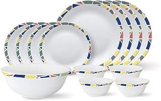 Larah By Borosil - Tiara Series, Garnet, 13 Pcs, Opalware Dinner Set, White