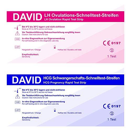 100 David Ovulationstest 10 miu/ml + 10 Schwangerschaftstest - Streifen