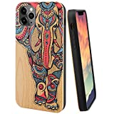 iProductsUS Wood Phone Case Compatible with iPhone 11 (2019), Textured Printed Colorful Elephant, Built-in Metal Plate, TPU Protective Shockproof Cover (6.1 inch)