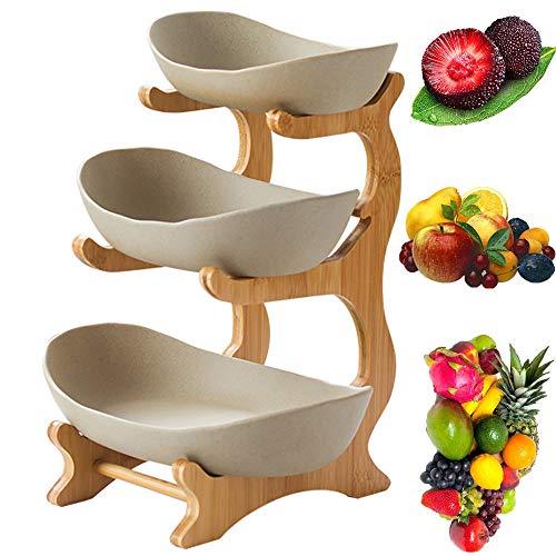 3-Stufige Obstschale (Regal Aus Bambus Und Holz * 1, Keramikschale * 3), Tischdekoration Obstkorb, FüR Obst,Brot, Snacks,Grey