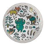 4pcs Glass Cupboard Wardrobe Cabinet Drawer Knob Door Pull Handle Cartoon Fox Bear Wolf and Owl