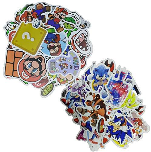 Sonic Super Mario Pegatina 100 unids/lote Mario Cartoon Super Juegos Pegatinas Maleta Impermeable Portátil Guitarra Monopatín Juguete Pegatinas Encantadoras