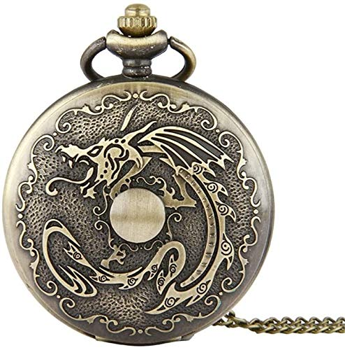 Reloj de Bolsillo Joyería clásica Vintage con Cadena Delgada Bola de dragón Vintage Hombres nostálgicos Mujeres Cadena Corta Significa el Reloj en el Bolsillo (Color, Size : Free Size)