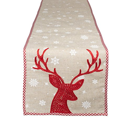 DII Holiday Decorative Table Runner Red Reindeer Embroidered, 14x70