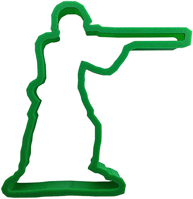 Green Army Man Standing Rifle Plastic Cookie Cutter 4 Cc115