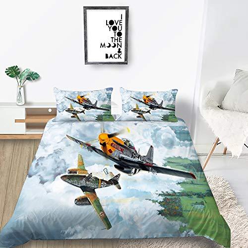 HUOHUO Doppelbettwäscheset, stilvoller 3D-Bettbezug mit blauem Himmel, Kingsize-Doppelbett, Einzelbett, Einzelbett, Doppelbett, einzigartiges Design (C,200x200cm)