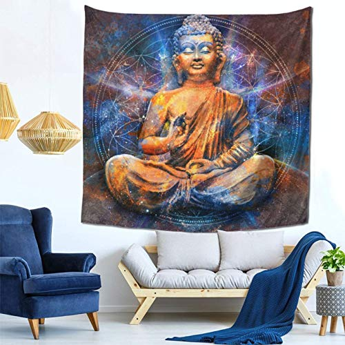 Nanjosan Golden Buddha Galaxy Tapestry Wall Hanging Decor for Bedroom Living Room Dorm 59 X 59 Inches Ins Style