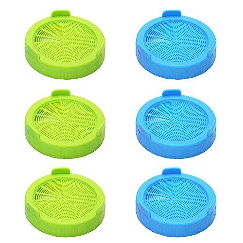 Merysen Juego de 6 Tapa de Brotes, Tapas de Plastico Aptas para Frascos de Boca Ancha para Hacer Semillas de Germinado Orgánico