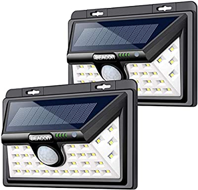 BEACON Solar Lights Outdoor, Upgraded Solar Motion Sensor Light Outdoor, 3 Optional Modes Security Motion Sensor Lights, IP65 Waterproof, LED Solar Light for Front Door, Driveway 2-Pack