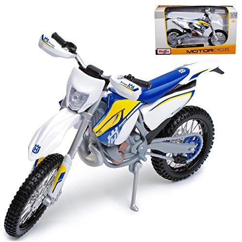 Maisto Husqvarna FE 501 Blau Weiss Enduro 1/12 Modell Motorrad mit individiuellem Wunschkennzeichen