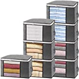 Isbasa 8 Pack Large Foldable Clothes Organizer Clothing Storage Bags with Clear Window Sturdy Zipper and Reinforced Handle Thick Fabric for Comforters, Blankets, Bedding, 8Pack, 84L, Grey