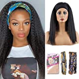 Kinky Straight Headband Wig Synthetic Hair Glueless Yaki Straight Headband Wigs 14 inch Natural Black Color Headband Wig Soft Silky Heat Resistant Synthetic Wig For Women Wig (14inch, 1B)