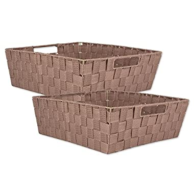DII Durable Trapezoid Woven Nylon Storage Bin or Basket for Organizing Your Home, Office, or Closets  (Tray - 13x15x5 ) Taupe - Set of 2