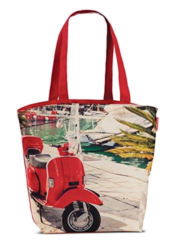 Badetasche Strandtasche Retro Kuba Oldtimer Umhängetasche Freizeit Strand Tasche Einkaufstasche Motorroller Rot