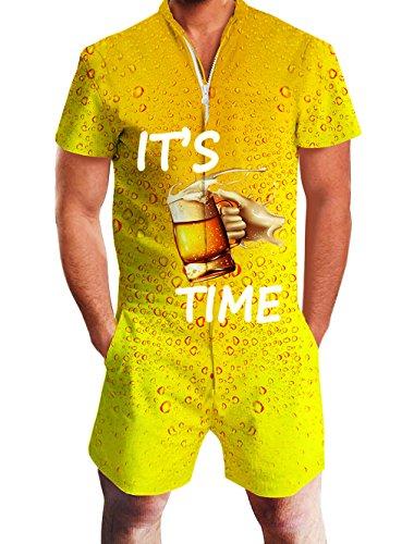 Goodstoworld Herren 3D Druck Sommer Jumpsuit Zipper Kurz Anzug Overall Onesie Strampler Golden Orange Bier S