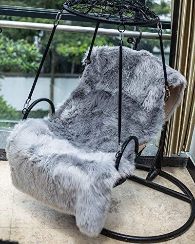 Daoxu tappeto in pelliccia ecologica di pecora, elemento decorativo a pelo lungo in simil lana, da posizionare ai piedi del divano, del letto o della poltrona, Grau, 50 x 150 cm