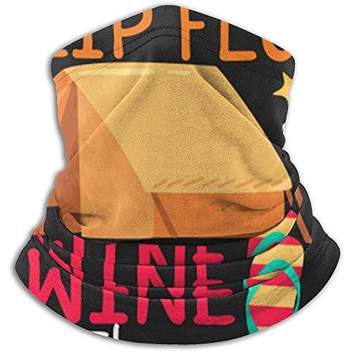 Randy-Shop La Vie est Meilleure en Tongs avec du vin au Camping Cache-Cou pour Hommes Femmes Ski Cache-Cou Couverture Masque Facial