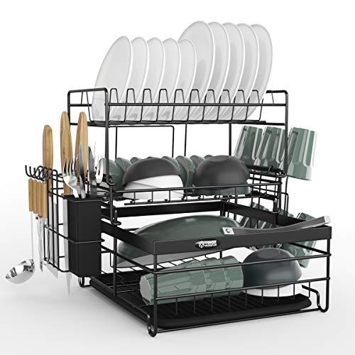 水切りラック 3段式 食器 水切りかご キッチン 収納 スリム 食器乾燥ラック ステンレス製 錆びない ドリップトレー付き 箸立て 食器置き 黒