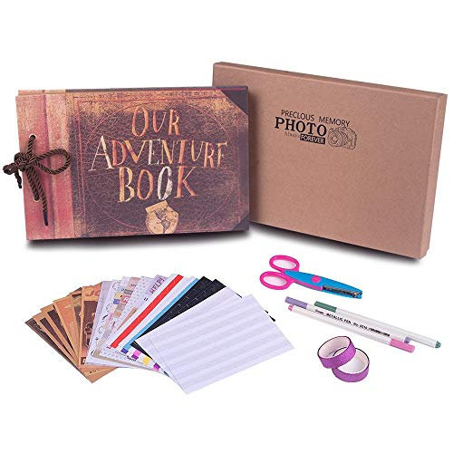 Our Adventure Book with Bonus Gift Box,Best DIY Scrapbook Photo Album 80 Pages,Retro Album Wedding Photo Album for Lover,Kids,Thanks Giving Gift,Christmas Gift