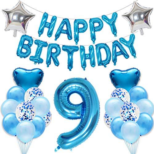 Ouceanwin 9 Geburtstag Dekoration Blau 9. Geburtstagsdeko Junge Set, Riesen Luftballons Zahl 9, Folienballon Happy Birthday Girlande, Konfetti Luftballons Helium Ballons Geburtstag Deko Set