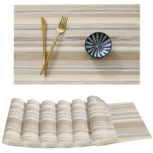 Zhaoke Sets de Table Antidérapant, Lot de 6 Sets de Table PVC, Imperméable et Résistants à Chaleu, Rayures Colorées, Sets de Table Tissés pour Table de Salle à Manger (#2, 45*30cm)