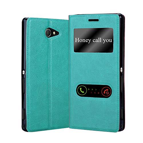 Cadorabo Hülle für Sony Xperia M2 / M2 Aqua in Mint TÜRKIS – Handyhülle mit Magnetverschluss, Standfunktion & 2 Sichtfenstern – Hülle Cover Schutzhülle Etui Tasche Book Klapp Style