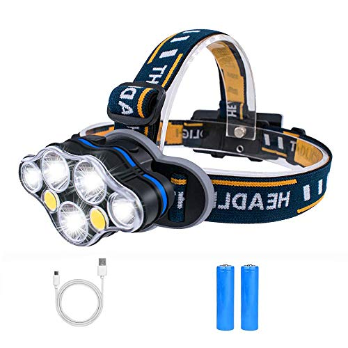 Head Torch,Waterproof Headlight with Red Warning Light USB Rechargeable Led...