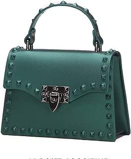 Portable Women's Scrub Rivet Jelly Bag Simple Fashion Solid Color Leather Shoulder Bag Messenger Bag PU Handbag (Color : Green)