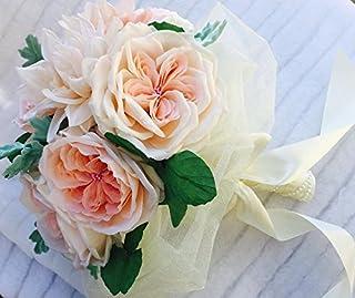 bouquet da sposa con rose inglesi e dahlie