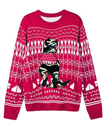 QUALFORT Men's Ugly Christmas Sweater Red-Camouflage Color Dinosaur Large