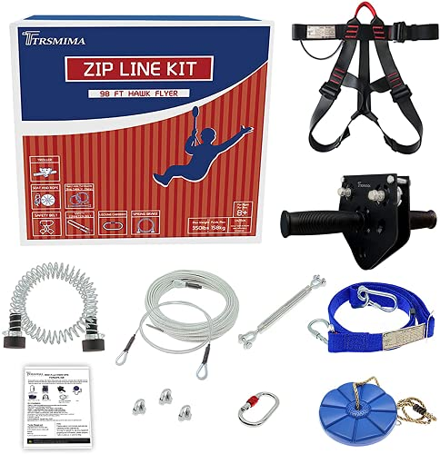 Trsmima 98 Feet Zip Line Kit for Kids and Adult Up to...
