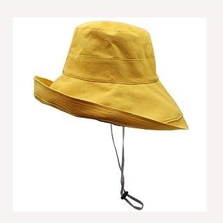 LPKH Fisherman Hats Wide Brim Anti-UV Edge Round Visor Hats Outdoor Sport Leisure Cap Folding Sunhat Bucket Hat UPF+ 50 hat (Color : Yellow)