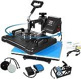 AONESY Máquina de Prensa de Calor 5 en 1 Máquina de Prensa de Calor 38x 30cm Impresora de sublimación Digital Máquina de Giro de 360 Grados para Camisetas/Taza/Sombrero/Placa/Gorra