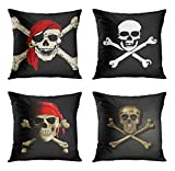 ArtSocket Set of 4 Throw Pillow Covers Jack Jolly Roger Pirate Skull Bones Red Bandanna Larger Crossbones Skeleton Death Decorative Pillow Cases Home Decor Square 18x18 Inches Pillowcases