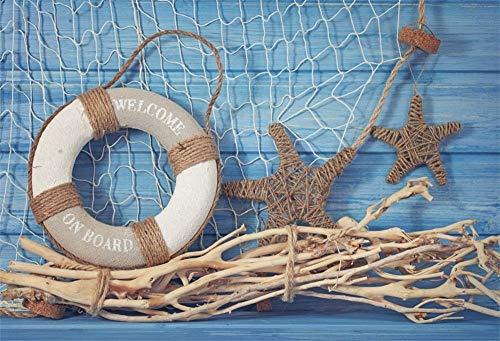 MMPTn 6x4 pies Red Pesca poliéster Telón Fondo Fiesta náutica Pequeño Marinero Fiesta cumpleaños Marinero Salvavidas Tablero Madera Azul Baby Shower Photo Studio Atrezzo Sin Arrugas
