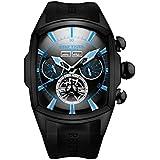 Reef Tiger Men's Sport Watches Automatic Black Steel Tourbillon Rubber Strap Watch RGA3069 (RGA3069-BBBL)