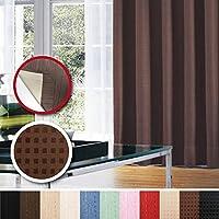 窓美人 センチュリオン 完全遮光 特殊コーティングカーテン 半間用 1枚入り 幅100×丈200cm ブラウン ドット柄 断熱・遮熱・防音