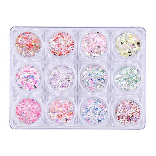 Lurrose 12 bouteilles paillettes à ongles paillettes irisées nail art paillettes étoiles étoiles de lune paillette nail art décoration