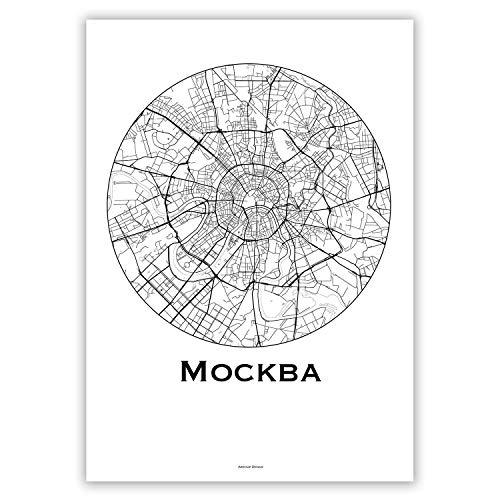 Plakat Moscow Russia Minimalist Map - Poster, City Map, Dekoration, Geschenk