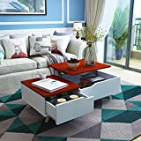 Mecor Modern Lift Top Coffee Table with Hidden Compartment, Storage Drawer and Solid Wood Legs - for Living Room Reception Room, Brick Red & White