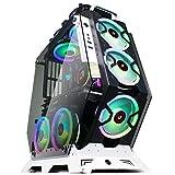 KEDIERS ATXオープンフレームパノラマビューゲーミングコンピュータケースPCケースミッドタワーケース、強化ガラス2個とRGBファン7個